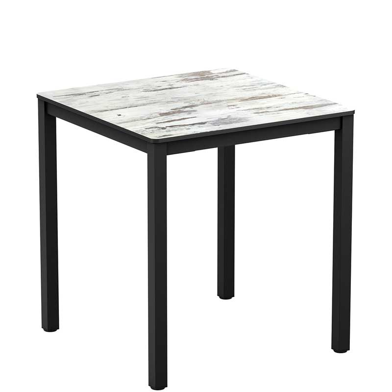 Square table with vintage-effect top and black legs