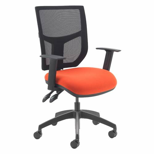 Swivel chair with orange seat and black mesh back