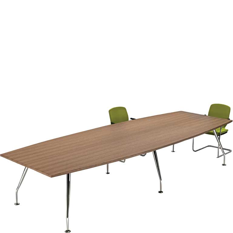Two green chairs around a large boardroom table