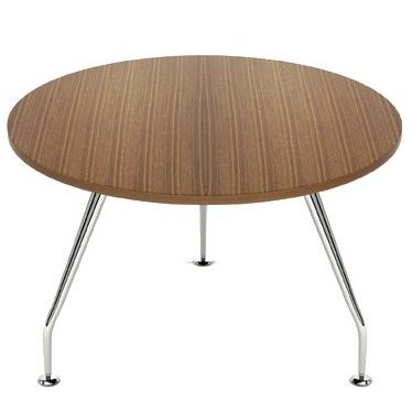 Circular coffee table with dark wooden top and chrome legs